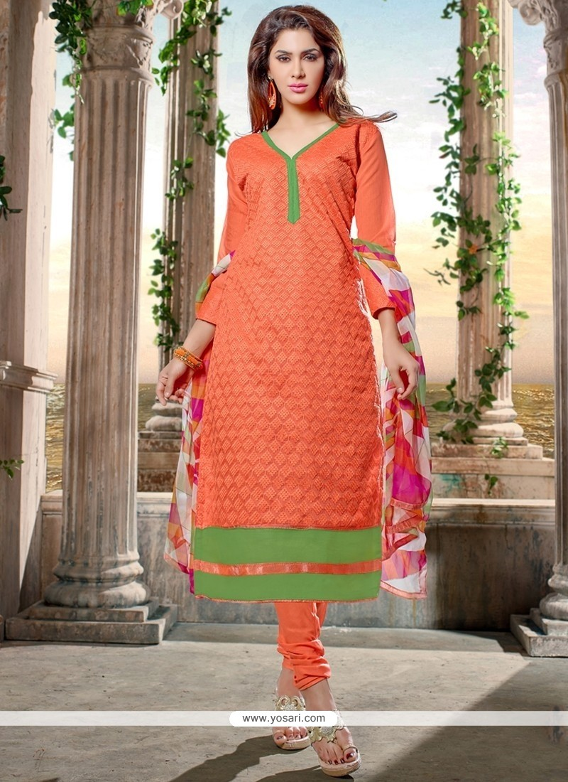Trendy Chanderi Cotton Orange Churidar Designer Suit