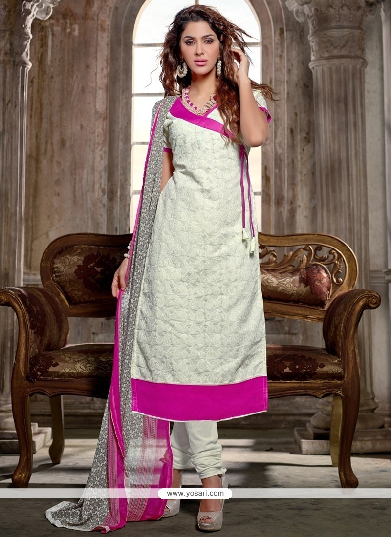 Immaculate Chanderi Cotton White Print Work Churidar Salwar Kameez