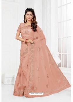 Baby Pink Net Heavy Designer Wedding Saree