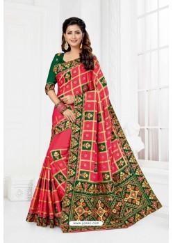 Rani Satin Silk Heavy Designer Wedding Saree