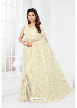 Off White Net Heavy Designer Wedding Saree