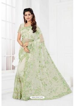Sea Green Net Heavy Designer Wedding Saree