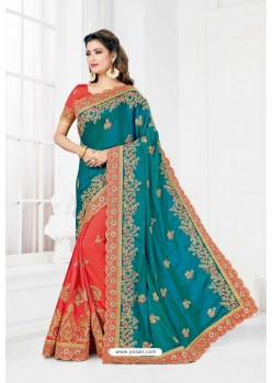 Teal And Peach Cadbury Silk Heavy Designer Wedding Saree