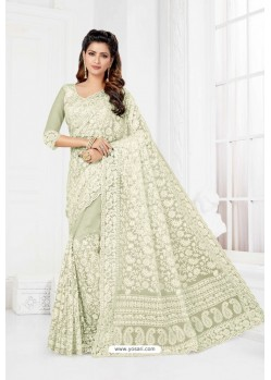 Fabulous Off White Net Heavy Designer Wedding Saree