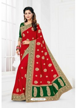 Red Vichitra Silk Heavy Designer Wedding Saree