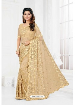 Beige Net Heavy Designer Wedding Saree