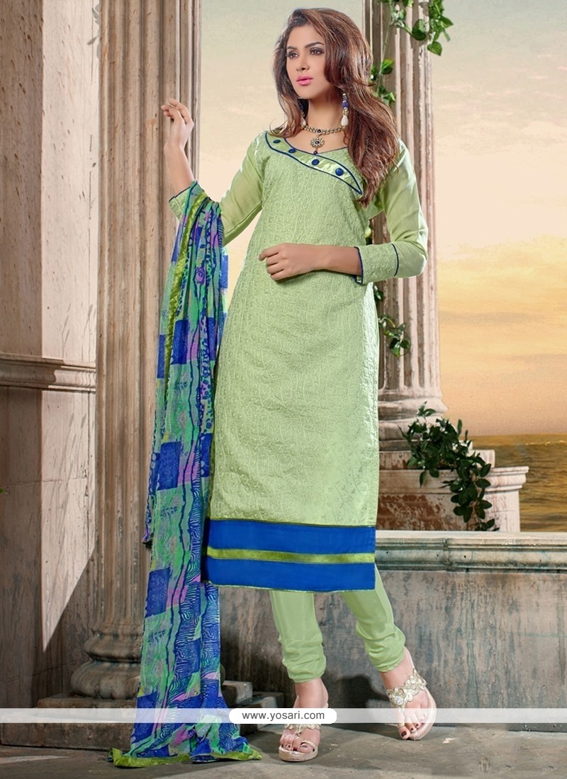 Awesome Chanderi Cotton Green Print Work Churidar Designer Suit