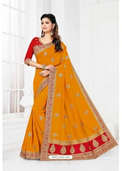 Yellow Vichitra Silk Heavy Designer Wedding Saree