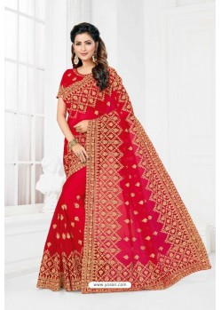 Red Net Heavy Designer Wedding Saree