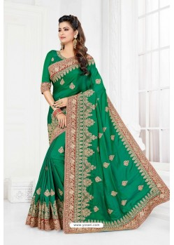 Jade Green Cadbury Silk Heavy Designer Wedding Saree