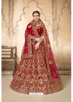 Red Velvet Designer Bridal Lehenga Choli