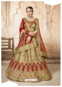 Olive Green Silk Designer Bridal Lehenga Choli