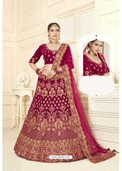 Medium Violet Velvet Designer Bridal Lehenga Choli