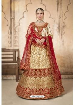 Off White Silk Designer Bridal Lehenga Choli