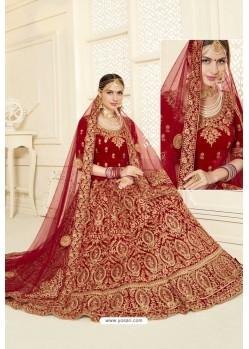 Lovely Red Velvet Designer Bridal Lehenga Choli