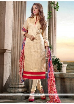 Invigorating Chanderi Cotton Cream Print Work Churidar Salwar Kameez