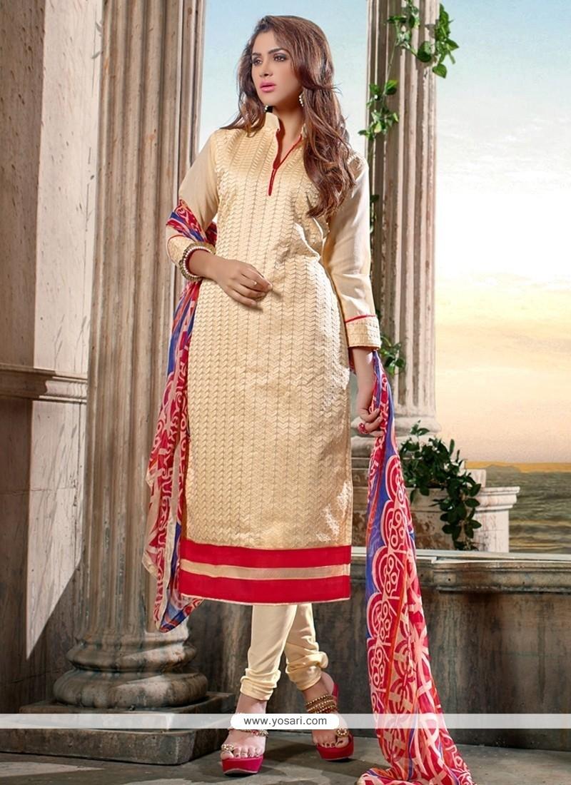 Invigorating Chanderi Cotton Cream Print Work Churidar Salwar Kameez
