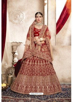Pretty Red Velvet Designer Bridal Lehenga Choli