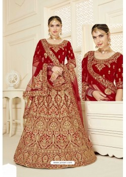 Red Velvet Designer Bridal Lehenga Choli