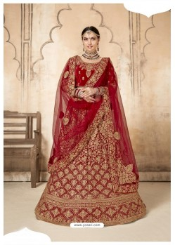 Perfect Red Velvet Designer Bridal Lehenga Choli