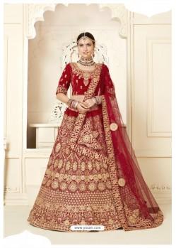 Gorgeous Red Velvet Designer Bridal Lehenga Choli