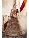 Brown Kashmiri Velvet Designer Bridal Lehenga Choli