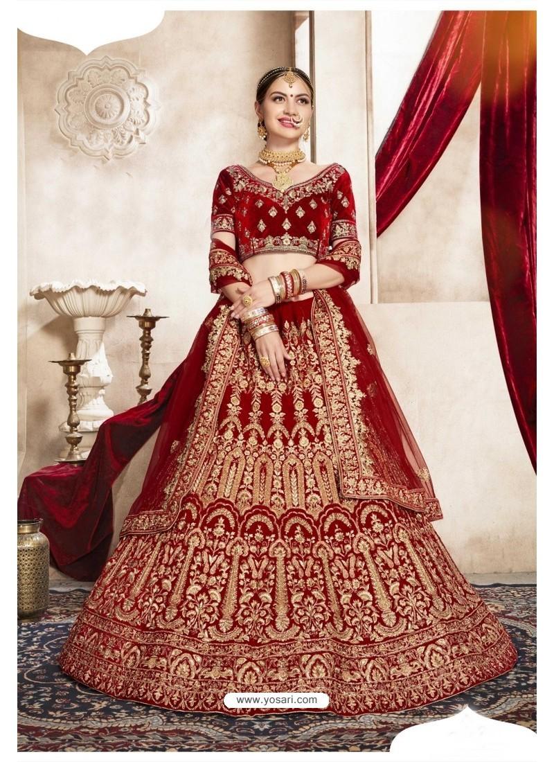 Red Kashmiri Velvet Designer Bridal Lehenga Choli