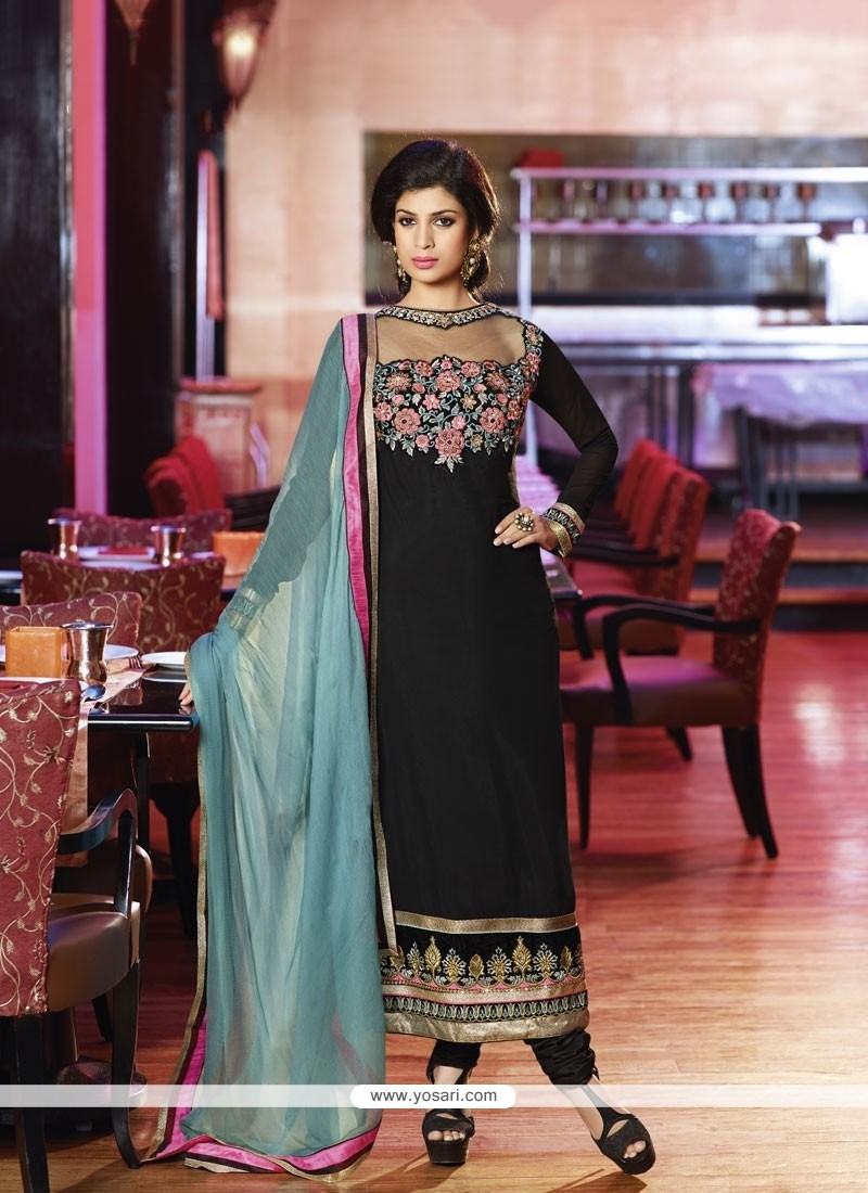 Girlish Black Embroidery Churidar Salwar Suit