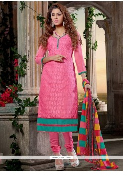 Ideal Lace Work Chanderi Cotton Churidar Designer Suit