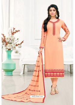 Light Orange Georgette Churidar Suit