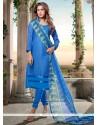 Irresistible Chanderi Cotton Print Work Churidar Designer Suit