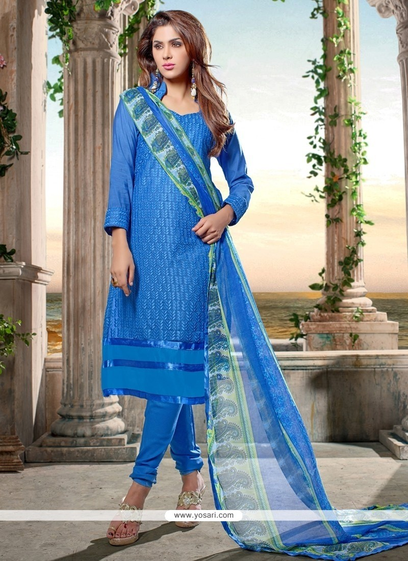 Irresistible Chanderi Cotton Print Work Churidar Designer Suit
