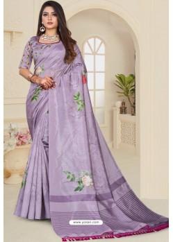 Lavender Zoya Art Silk Printed Saree