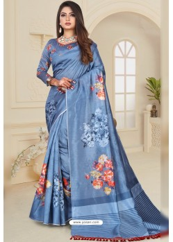 Blue Zoya Art Silk Printed Saree
