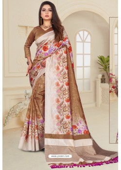 Brown Zoya Art Silk Printed Saree