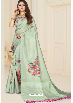 Sea Green Zoya Art Silk Printed Saree
