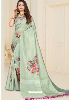 Sea Green Zoya Art Silk Printed Saree