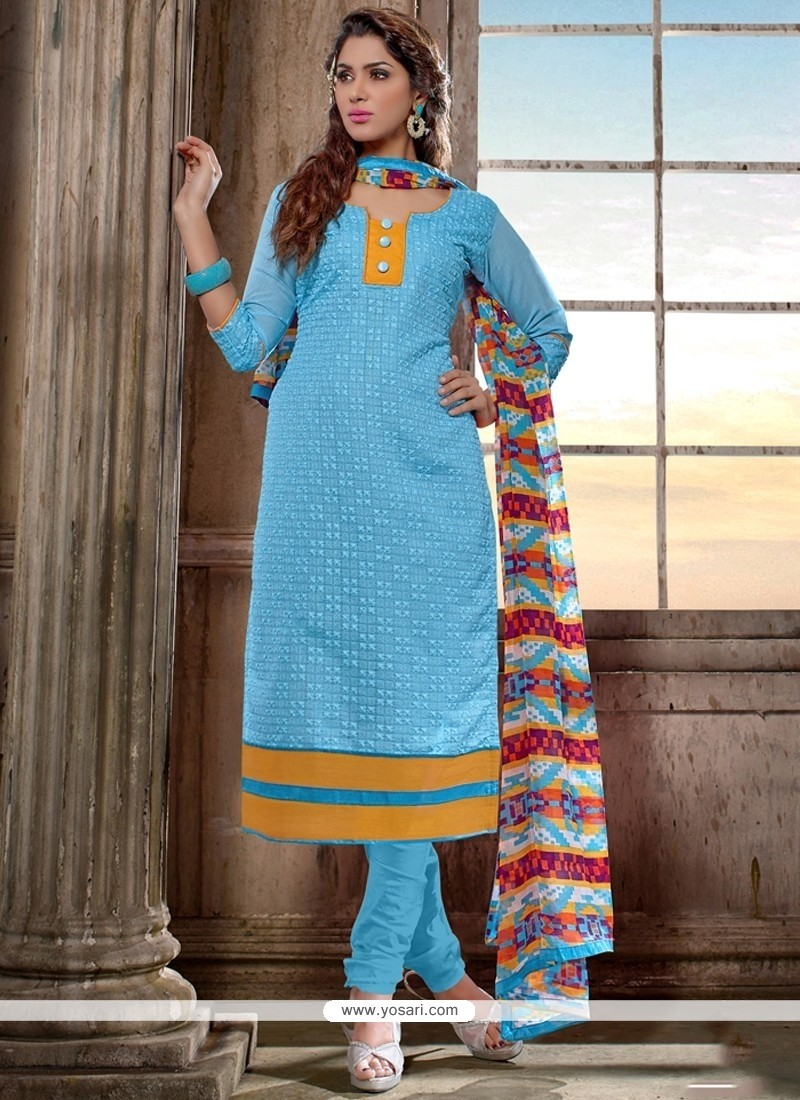 Magnificent Blue Chanderi Cotton Churidar Salwar Kameez