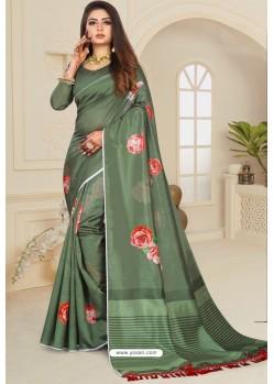 Delightful Mehendi Zoya Art Silk Printed Saree