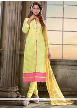 Sonorous Lace Work Yellow Churidar Salwar Kameez