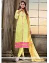 Sonorous Lace Work Yellow Churidar Salwar Kameez