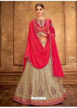 Gold And Deep Red Weaved Silk Designer Lehenga Choli