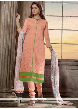Orphic Peach Chanderi Cotton Churidar Salwar Suit