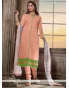 Orphic Peach Chanderi Cotton Churidar Salwar Suit