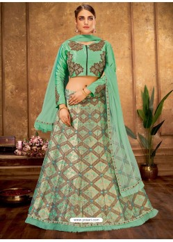 Aqua Mint Weaved Silk Designer Lehenga Choli
