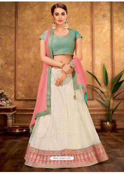Cream And Sky Net Designer Lehenga Choli