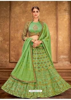 Parrot Green Weaved Silk Designer Lehenga Choli
