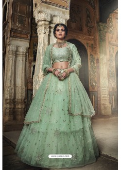 Stunning Sea Green Soft Net Designer Lehenga Choli