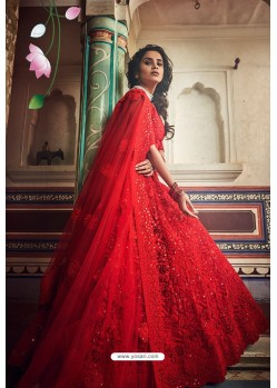 Red Soft Net Designer Lehenga Choli