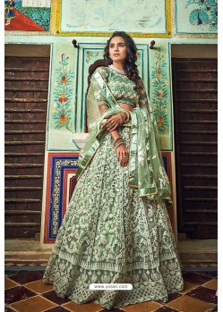Sea Green Soft Net Designer Lehenga Choli
